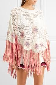 Image result for Fringed embroidered crocheted cotton poncho