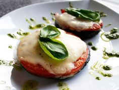 Caprese Pesto Mushroom Melts.  So Easy and Simple, I would have this for dinner as well.  Portobello Mushrooms are a great sub for meat too.