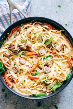 Creamy Cajun Sausage Linguine is a creamy 30 minute pasta recipe that's going to become a family favourite! Not too heavy on the cheese but still super creamy! Kosher Recipes, Cajun Recipes, Gourmet Recipes, Cooking Recipes, Healthy Recipes, Cooking Tips, Venison Recipes, Dessert Recipes, Cajun Sausage
