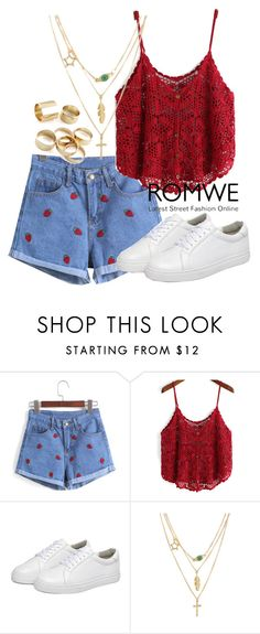 """""""ROMWE"""" by deedee-pekarik ❤ liked on Polyvore featuring shorts, romwe and denimshorts"""