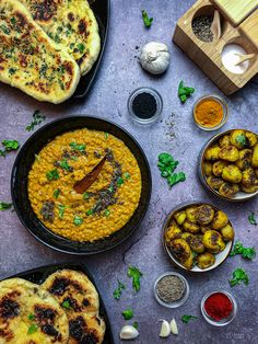 Vegan Indian Feast Night Vegan Naan, Black Mustard Seeds, Yellow Lentils, Naan Recipe, Indian Food Recipes, Ethnic Recipes, Fresh Coriander, Lunch Menu, Garam Masala