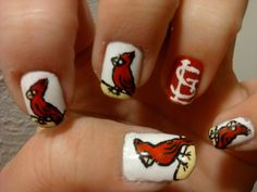 Louis Cardinal Baseball Nails - wish I could paint the cardinal Mani Pedi, Pedicure, Manicure Ideas, Nail Ideas, Baseball Nail Art, Football Nails, Baseball Stuff, Hair And Nails, My Nails
