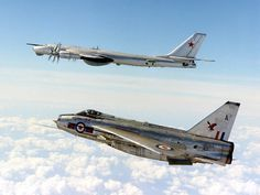 RAF English Electric Lightning and Russian Tupolev TU-95 Bear. This happened during an era of British aerial dominance (with the US) in terms of it's air industry. English Electric were just one company operating at the time.