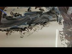 Acrylic Pour with negative White and air manipilatiom - YouTube