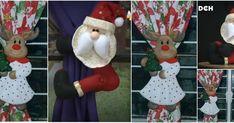 Aprende cómo hacer un sujeta cortina de santa claus en fieltro Elf On The Shelf, Christmas Ornaments, Holiday Decor, Home Decor, Patterns, Ideas, Christmas Ornament, Fasteners, Noel