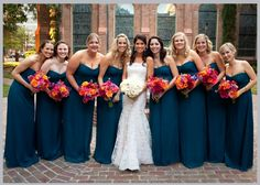 Bridal pop! Amsale bridesmaid dresses in Pacific | photo by Jeff Loftin Photography