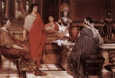 Sir Lawrence Alma-Tadema Catullus at Lesbia's hand painted oil painting reproduction on canvas by artist Lawrence Alma Tadema, Ancient Rome, Ancient Greece, Ancient Art, Roman History, As Roma, Weird Stories, Art Database, Romanticism