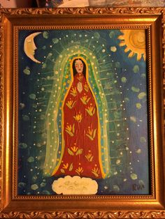 Framed Guadalupe folk art Madonna primitive Painting by rose walton Primitive Painting, Primitive Folk Art, Religious Paintings, Religious Art, Kitsch, Contemporary Decorative Art, Holy Mary, Madonna And Child, Art Icon