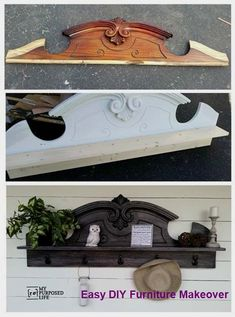 Awesome Diy Furniture Makeover Ideas Genius Ways To Repurpose Old Furniture With Lots Of Tutorials Diy Useful Coat Rack Shelf Repurposed From Hutch Top