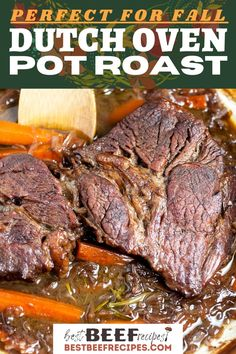 One bite of our fall-apart tender Dutch Oven Pot Roast, and it will hook you. You'll want to make this easy roast beef recipe all of the time! This is a family-friendly, shred-with-a-fork, delicious Dutch Oven recipe. #bestbeefrecipes #easyrecipes #easybeefrecipes #beefrecipes #beefdinner #beef #potroast #dutchoven #dutchovenrecipes #cooking #potroastrecipe