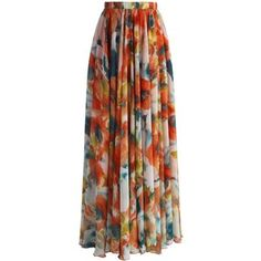 Chicwish Orange Blossom Watercolor Maxi Skirt