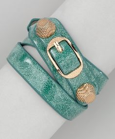 Take a look at this Rose Gold & Teal Blue Studded Wrap Bracelet by R U S H By DENIS & CHARLES on #zulily today!