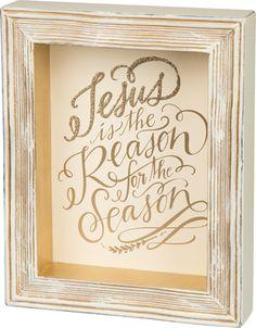 Item # 28436 | Framed Box Sign - Jesus Is | Primitives by Kathy