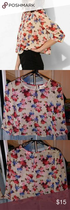 "Urban Outfitters Pins & Needles Sheer Floral Crop 100% polyester, three-quarter sleeve, length:17"" Pins & Needles Tops Crop Tops"