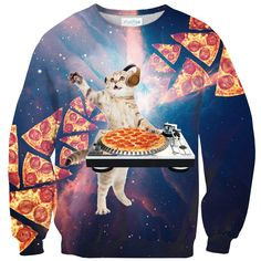 DJ Pizza Cat Sweater - Shelfies | All-Over-Print Everywhere - Designed to Make You Smile