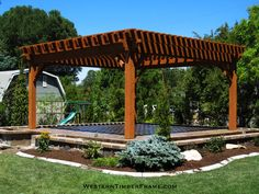With large oversized posts this mortise and tenon dovetail timber framed pergola will withstand strong winds and heavy mountainous snows.