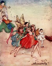 Pierrot, the Fairy Queens Page, cannot play with the other Children - The Magic Kiss by Christine Chaundler, 1916 Florence Mary Anderson