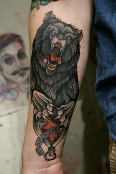 I love this illustration style, Georgous tattoo of a Bear Tattoo by Mitch Allenden at Inspirations in Morley, UK