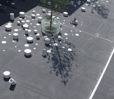 In IJburg, a residential neighborhood under construction in the east of Amsterdam, a high school courtyard. Space is asphalt with white circles painted, white concrete cylinders using three benches and trees. This project is designed by the office Korth Tielens Architecten .