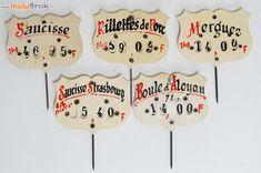 Anciennes étiquettes de boucher, charcutier... Le vintage en Cuisine  www.muluBrok.fr