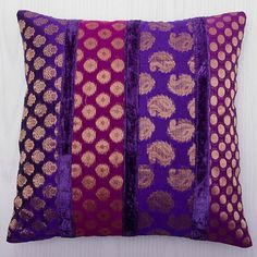 Purple Decorative Throw Pillow Brocade Ethnic by CraftAuraHome Purple Pillow Covers, Diy Pillow Covers, Diy Pillows, Sofa Pillows, Decorative Throw Pillows, Embroidery Floss Crafts, Purple Cushions, Cushion Cover Designs, Diy Cushion