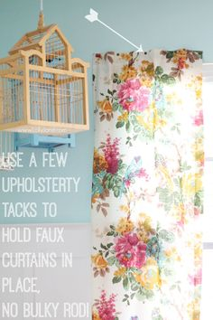 Quick tip to hang a faux curtain without a rod? Upholstery tacks!! @Lolly Jane {lollyjane.com}