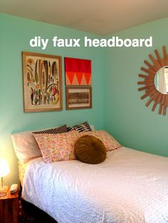 DIY faux headboard — Rental Revival...using one large, or a few medium size painting(s)/art piece(s) as a faux headboard.