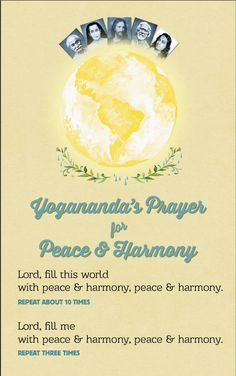 Peace and Harmony Prayer — Ananda Prayers For Peace, Autobiography Of A Yogi, Yoga Master, Divine Light, Self Realization, Peace And Harmony, Peace Quotes, World Peace, Positive Mind