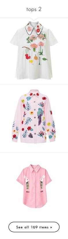 """""""tops 2"""" by thinvein on Polyvore featuring tops, shirts, white, white collar shirt, embroidered shirts, white top, short sleeve collared shirt, floral shirt, outerwear and jackets"""