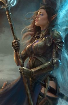 f High Elf Cleric Medium Armor Staff Sword female lg Female Character Concept, Fantasy Character Design, Character Art, Elfa, Fantasy Art Women, Fantasy Girl, Dungeons And Dragons Characters, Fantasy Characters, Weiblicher Elf