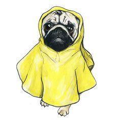 When to Change Your Dog's Diet Kawaii Illustration, Pug Art, Pug Love, Mellow Yellow, Dog Photos, Cute Drawings, Love Art, Printable Art, Your Dog