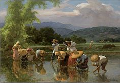 Fernando Amorsolo - Working in the Paddy Fields 1961 Watercolor Landscape, Landscape Paintings, Arte Filipino, Mark Rothko Paintings, Water Artists, Philippine Art, Philippines Culture, China Art, Artist At Work