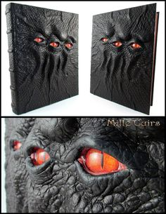 The third eye - Le Oeil by MilleCuirs - bullfrog textured lambskin bookbinding and bookmaking Halloween Books, Halloween Crafts, Halloween Decorations, Leather Book Covers, Leather Books, Book Crafts, Arts And Crafts, Handmade Leather Wallet, Magic Book