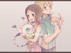 Digimon: Kari and TK <3 with Gatomon and Patamon