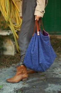 Sac cabas réversible en maille de laine Interieur coton avec 2 grandes poches,