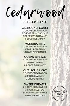 Cedarwood diffuser blends Cedarwood Essential Oil Uses, Cedar Essential Oil, Essential Oil Scents, Essential Oil Diffuser Blends, Doterra Diffuser, Oils For Life, Aromatherapy Oils, Diffuser Recipes, Oil Benefits
