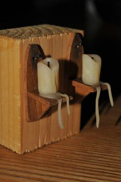 Melting 12th scale candles on oak wall by MagicalMiniaturesUK, £13.00