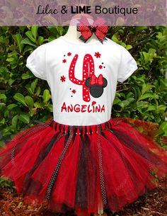 Minnie Mouse Ears Birthday shirt and tutu in Red by LilacAndLime, $48.00