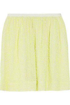 Citron sequined silk-crepe mini skirt