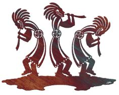 """The fertility gods depicted in this Native American metal art were often depicted in dances like this 30"""" fluted trio Kokopelli fertility dance. The humped over figures with flute and head dress in Hopi Indian style attire come right out of early native american folklore. This Native American art rendition is available in copper patina. Measures 30""""  W."""