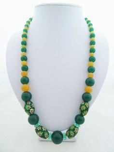 Vintage Venetian Millefiori Green and Yellow by jewelbirdvintage