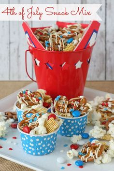 4th of July Snack Mix--This mix can be easily adapted for most any holiday or occasion. This yummy mix can be customized to include most any snacks you love, from pretzels to popcorn to chocolate candies. Combining sweet and salty snacks makes this an irresistible treat.