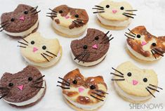 These kitty cat ice cream sandwich faces are certainly the cat's meow!