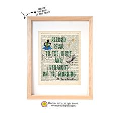 Peter Pan quote dictionary print-Second star Barrie by naturapicta