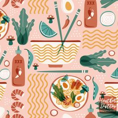Pho Real - Ramen Noodle Food Large Scale custom fabric by heatherdutton for sale on Spoonflower Illustration Software, Illustration Design Graphique, Art Et Illustration, Pattern Illustration, Food Illustrations, Vegetable Illustration, Doodles, Guache, Japanese Poster