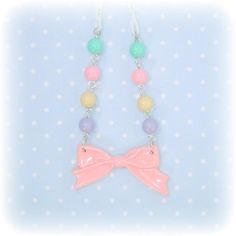 Kawaii Pastel Pink Bow Necklace OTT Sweet Lolita by blacktulipshop, $10.00