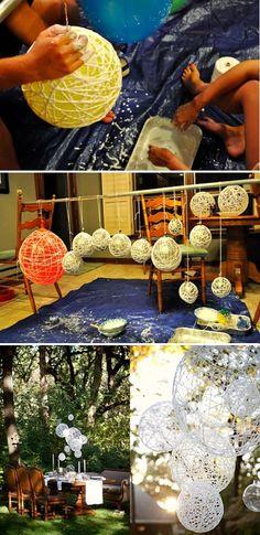 Yarn Balls - wrap around balloon with 'Flour Glue' mixture. pop ballon when dried and hard. Attach the yarn ball to White lights. Cheaper than paper lanterns! Deco Haloween, String Lanterns, Yarn Lanterns, String Balloons, Paper Lanterns, Balloon Lanterns, Large Balloons, Hanging Lanterns, Diy Hanging