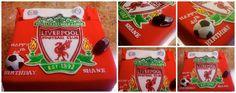 Tarta de Liverpool pintada a mano. Bizcocho de Red velvet rellena con frosting de queso crema. Hand painted Liverpool Cake. Red velvet cake with cream cheese filling
