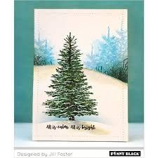 Penny Black Winter Tree Cling Stamp - The Foiled Fox Painted Christmas Cards, Christmas Scenes, Christmas Cards To Make, Xmas Cards, Holiday Cards, Penny Black Cards, Penny Black Stamps, Paper Art Projects, Black Christmas