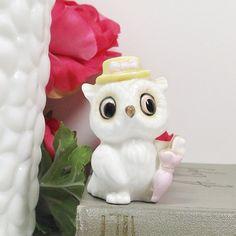"Vintage Owl/ owl / figurine/ pottery owl/ porcelain owl mini owl//1 2""H.Nice decoration.Mint condition.Miniature ."
